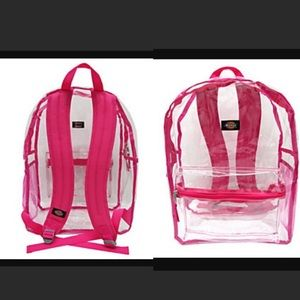 Dickies clear pink pvc backpack NWOT festival